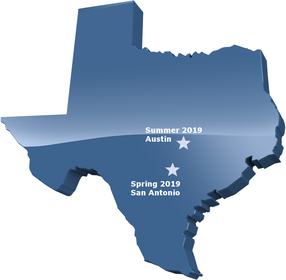 Map of Texas with upcoming meetings starred at their locations